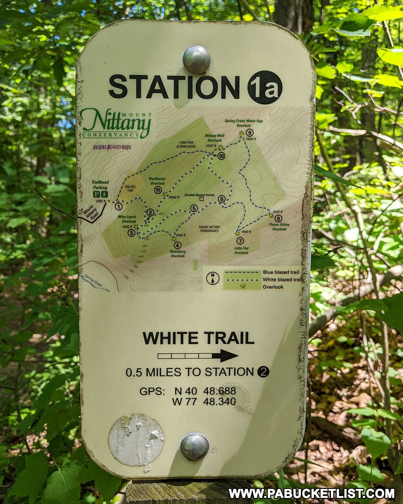 Trail signs along the hike to the top of Mount Nittany.