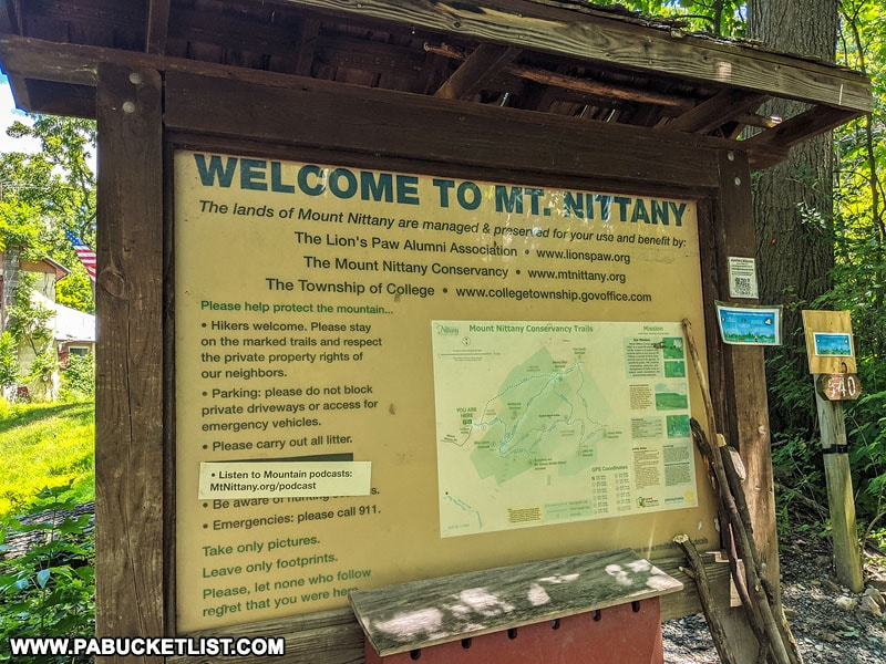 Mount Nittany information kiosk at trailhead.