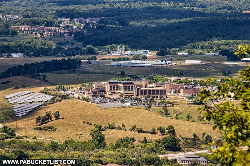 Mount Nittany Medical Center as viewed from the top of Mount Nittany.