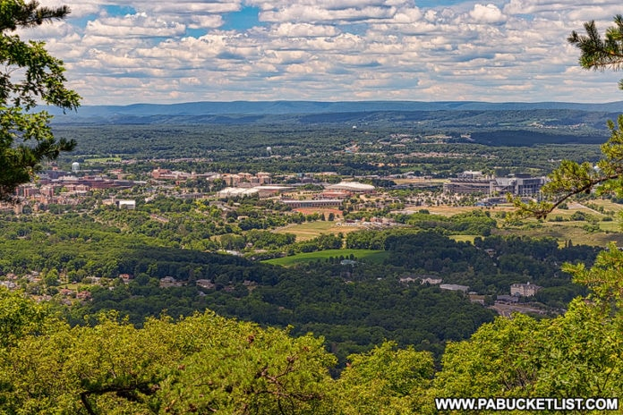 Penn State campus as viewed from the MIke Lynch Overlook on Mount Nittany.