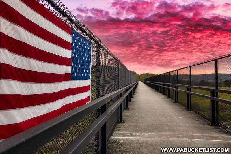 An American flag hanging over Route 219 along the Salisbury Viaduct.