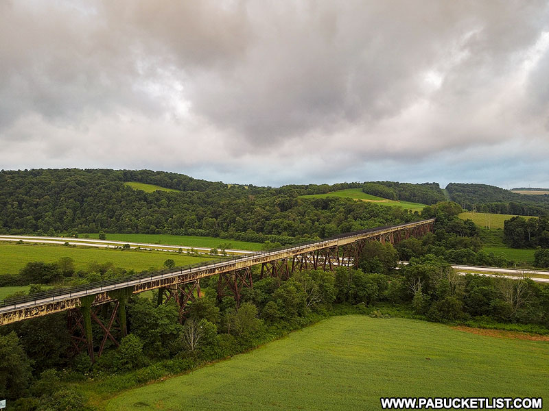 The Salisbury Viaduct disappears into the Pennsylvania foothills near Meyersdale.