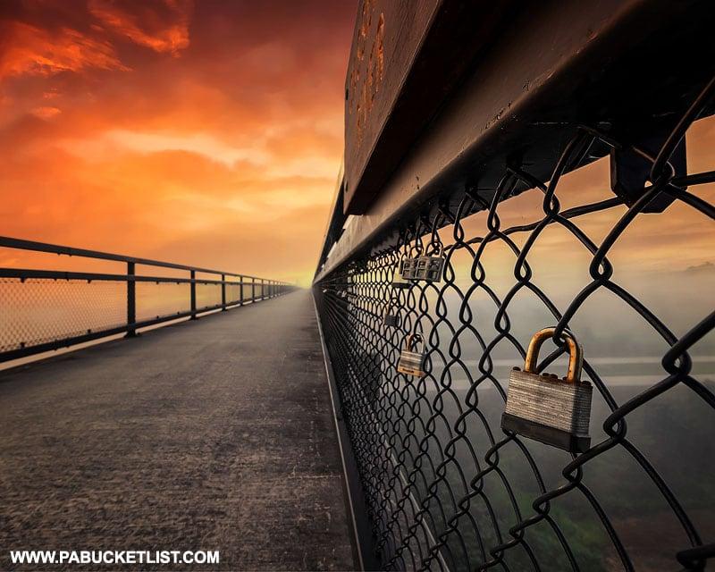 Love locks on the Salisbury Viaduct near Meyersdale.