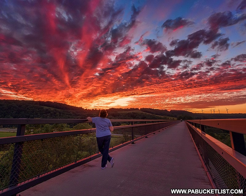 An epic sunset over the Salisbury Viaduct along the Great Allegheny Passage.
