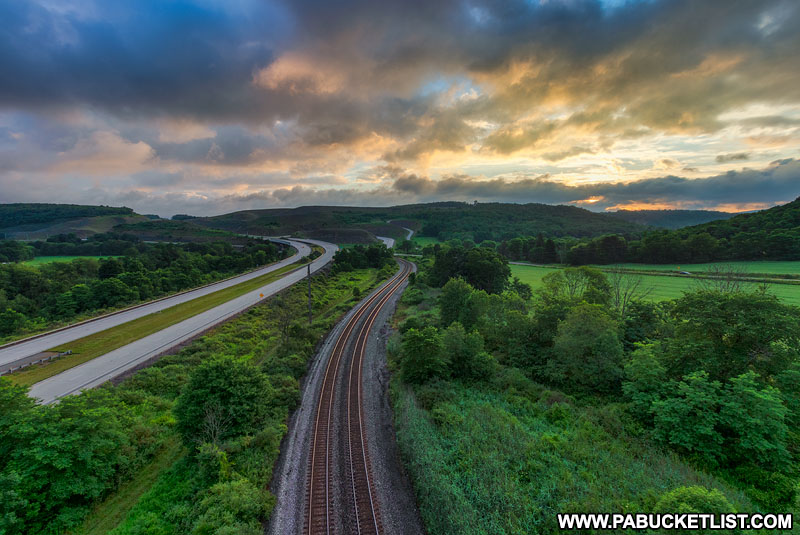The view to the east from on top of the Salisbury Viaduct in the PA Laurel Highlands.