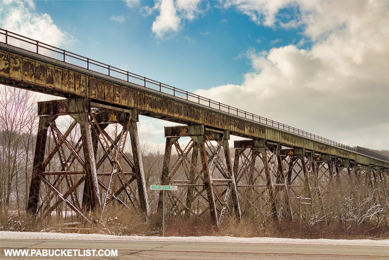 The steel trestles supporting the Salisbury Viaduct in Somerset County PA