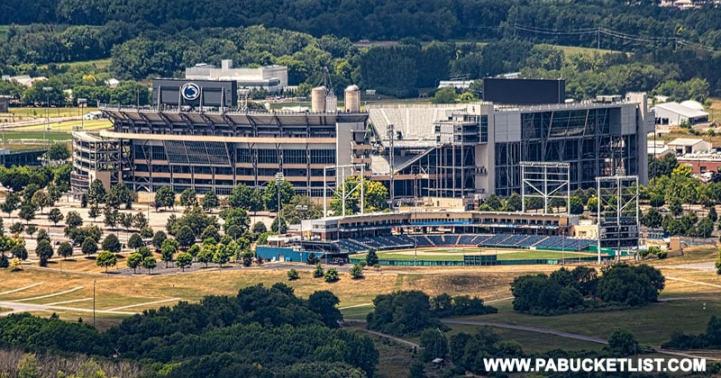 The view of Beaver Stadium and Medlar Field from Mount Nittany