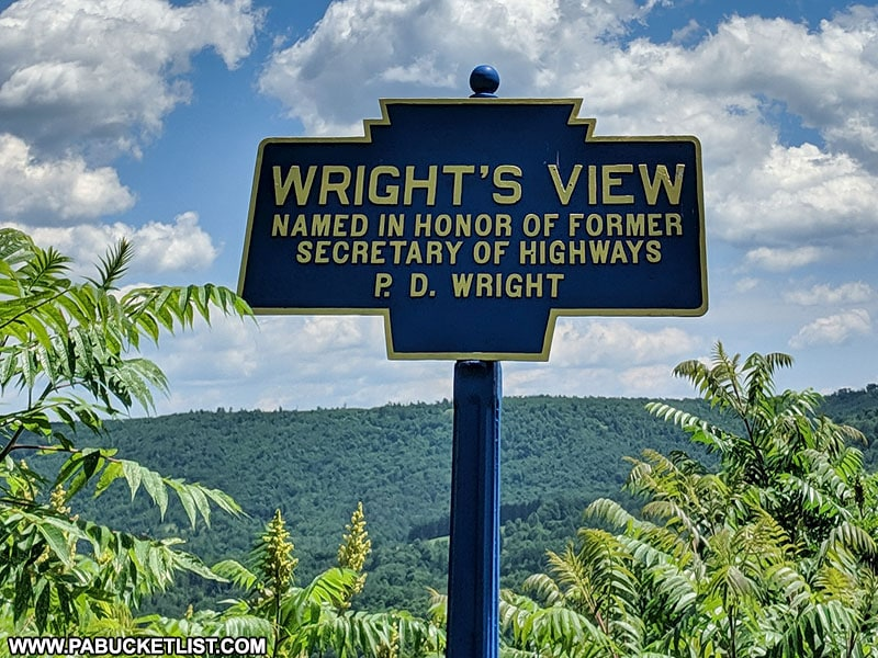 Wright's View roadside marker along Route 220 in Sullivan County Pennsylvania
