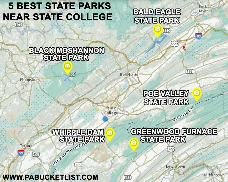Map to the 5 state parks closest to State College and Penn State.