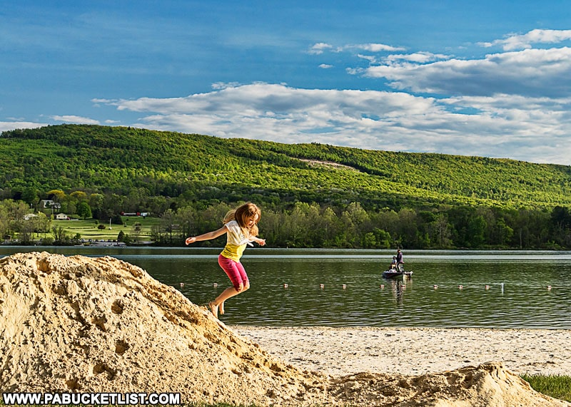 The beach at Bald Eagle State Park near State College.