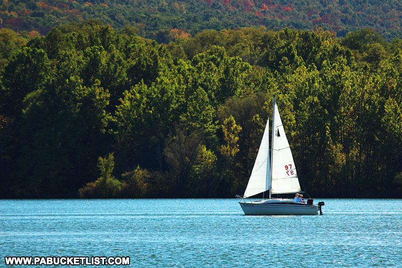 Sailboat on Sayers Lake at Bald Eagle State Park.
