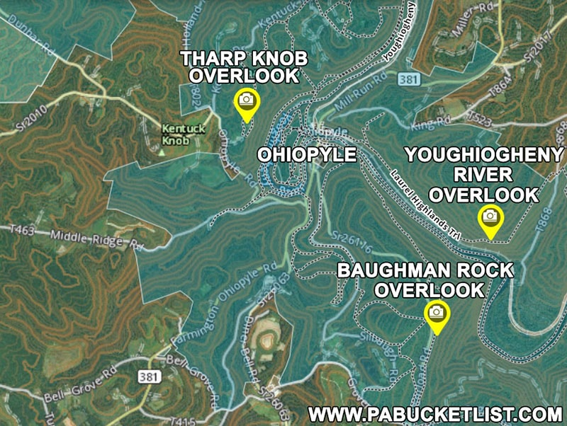 How to find the best scenic overlooks at Ohiopyle State Park.