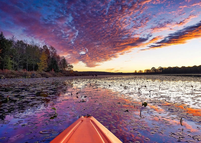 Sunset as viewed from a kayak on Black Moshannon Lake.