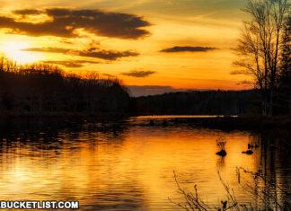 Sunset over Black Moshannon Lake