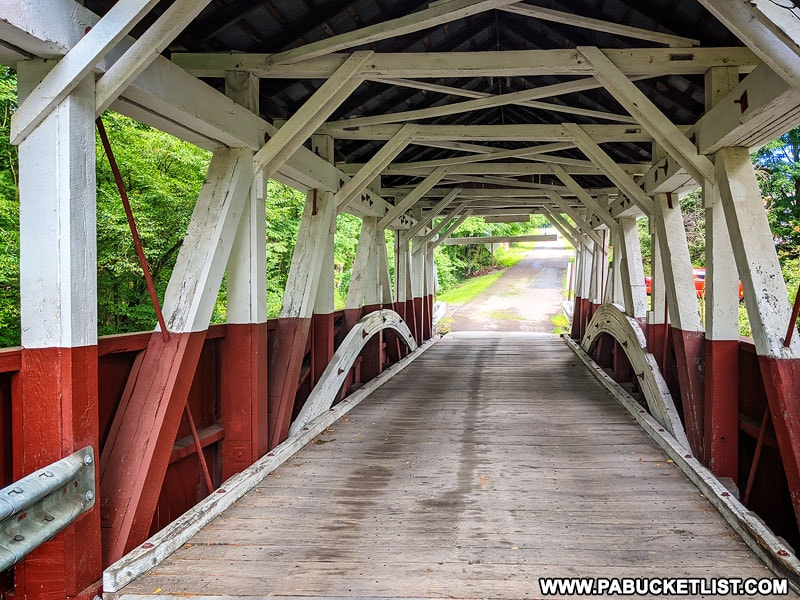 Interior of the Burkholder Covered Bridge in Somerset County Pennsylvania.