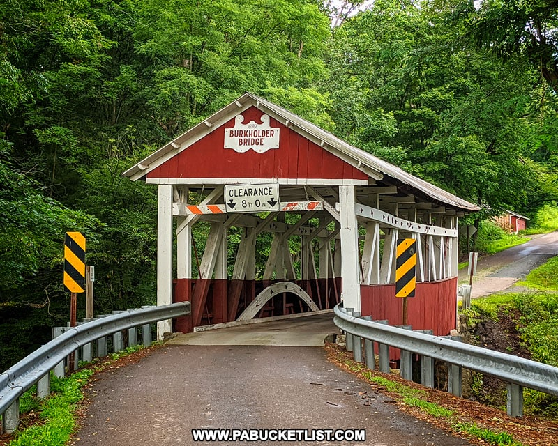 Front view of Burkholder Covered Bridge in Somerset County Pennsylvania.