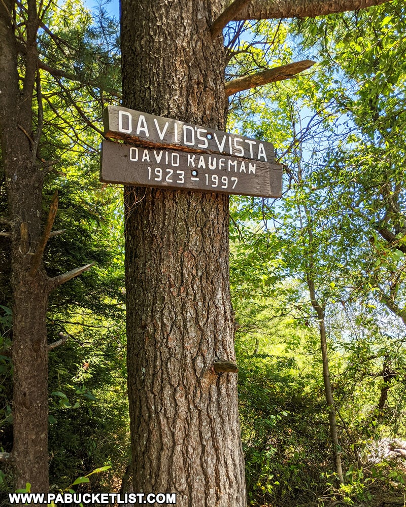 David's Vista sign along the Jackson Trail near State College.