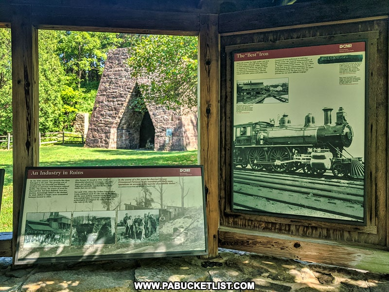 History of the furnace and iron making operation at Greenwood Furnace State Park.