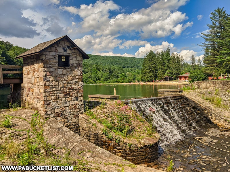 The dam at Greenwood Furnace State Park.