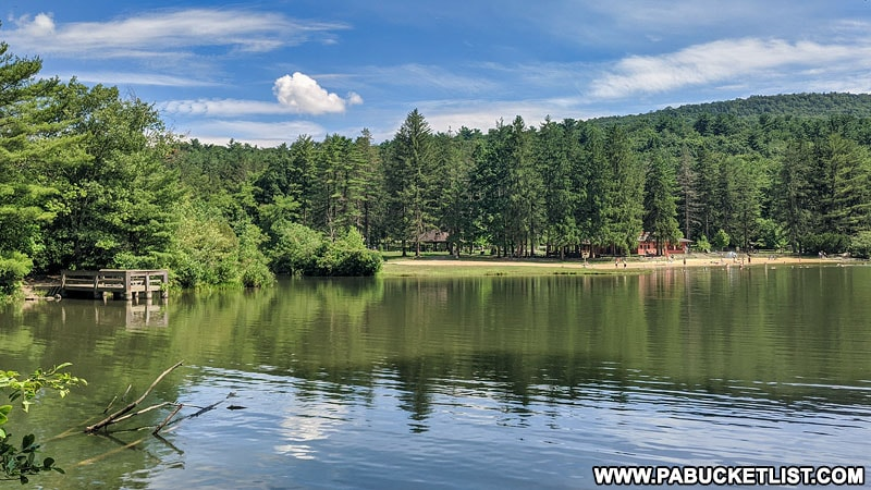 The lake and beach at Greenwood Furnace State Park.