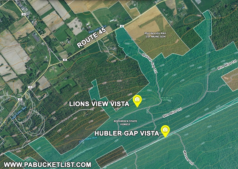 Map to Hubler Gap Vista and Lions Valley Vista near State College.