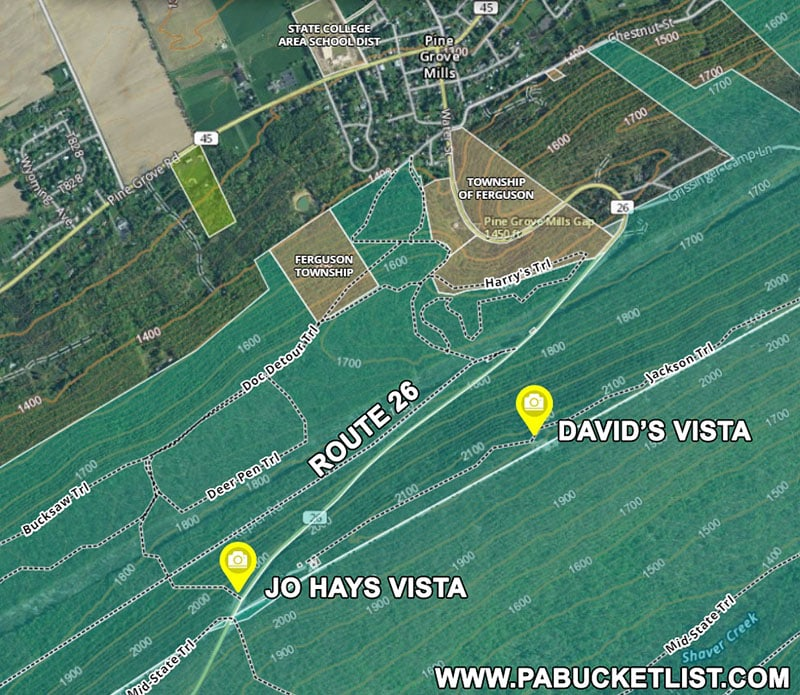 Map to David's Vista and Jo Hays Vista near State College.