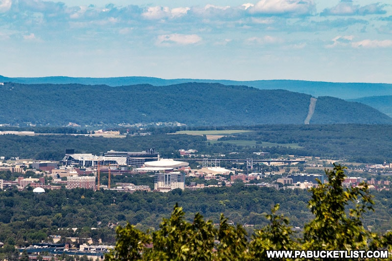 The view of Penn State campus from Jo Hays Vista.