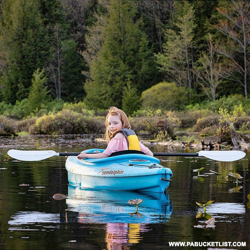 Kayaking at Black Moshannon State Park.