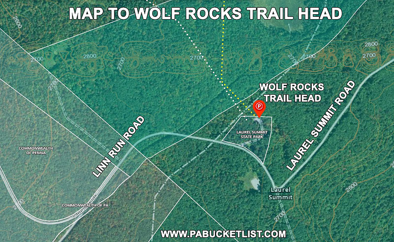 How to find the Wolf Rocks Trail Head near Somerset Pennsylvania.