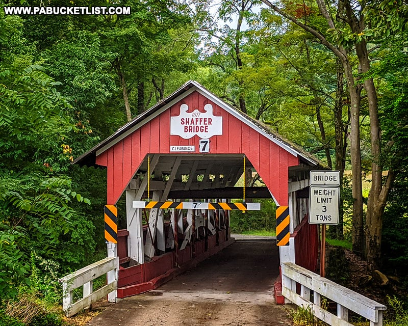 Front view of Shaffer Covered Bridge in Somerset County Pennsylvania.