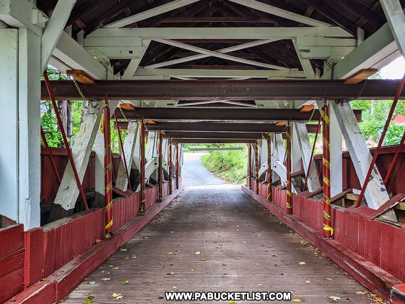 Interior of Shaffer Covered Bridge in Somerset COunty PA.