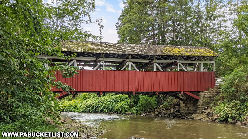 Side view of Shaffer Covered Bridge in Somerset County Pennsylvania.