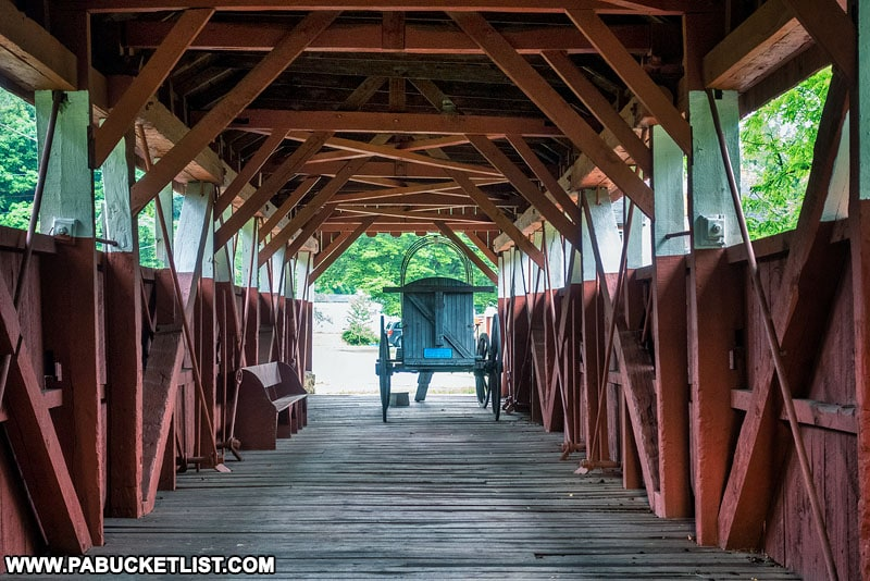 Interior of the Trostletown Covered Bridge in Somerset County Pennsylvania.