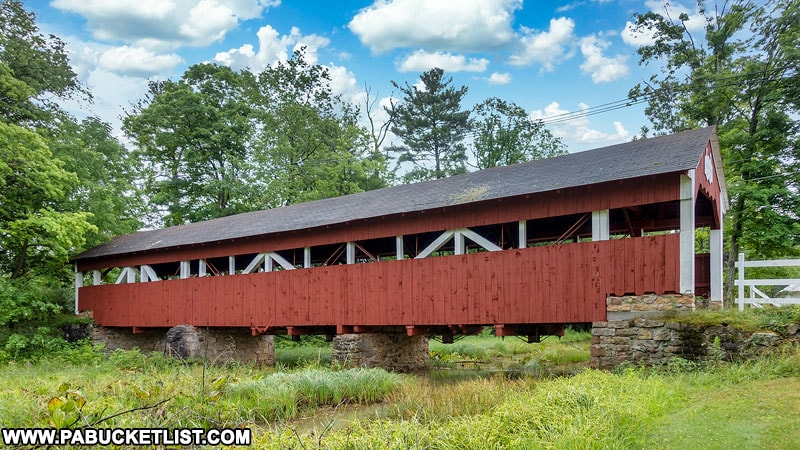 Side view of the Trostletown Covered Bridge in Somerset County Pennsylvania