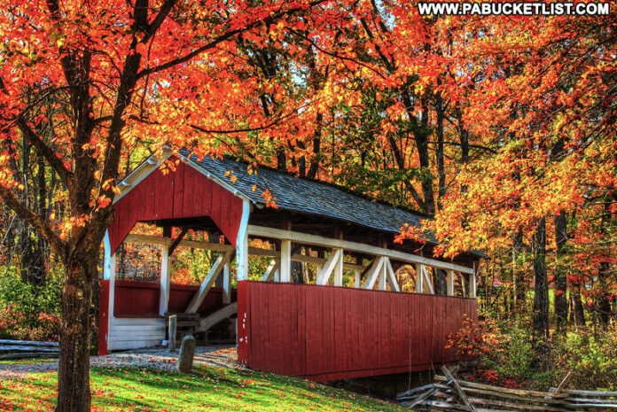 Fall foliage at Walters Mill Covered Bridge in Somerset County PA