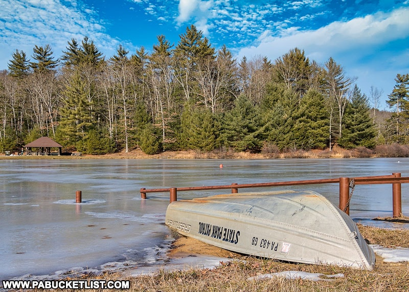Whipple Dam State Park in the winter.
