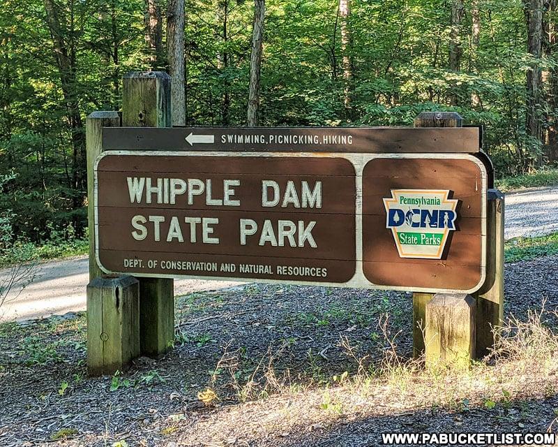 Whipple Dam State Park sign along Laurel Run Road.