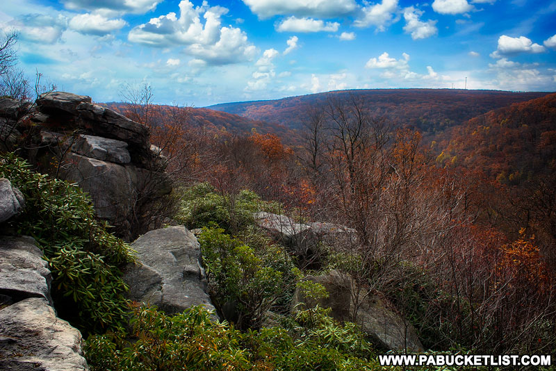 Fall foliage at Wolf Rocks Overlook in Somerset County PA
