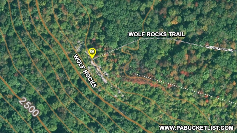 Satellite view of Wolf Rocks in Somerset County.