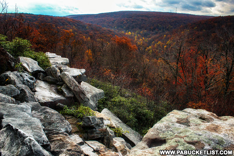 Late autumn at Wolf Rocks Overlook in the Forbes State Forest.