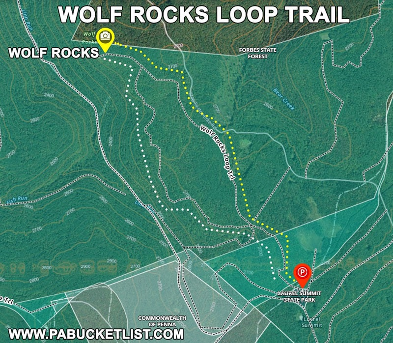A map of the Wolf Rocks Trail in the Forbes State Forest.