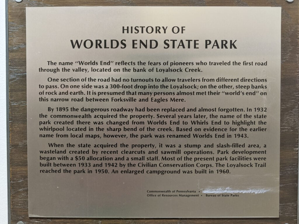 History of Worlds End State Park.