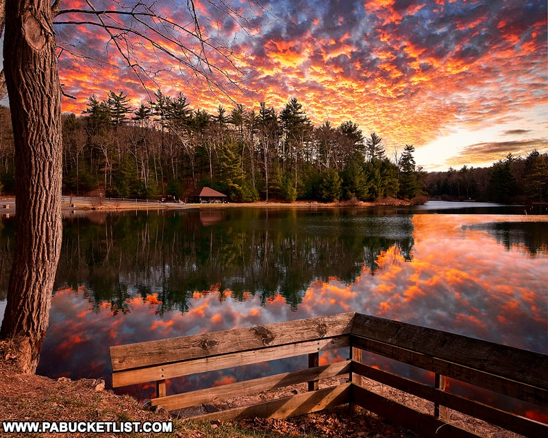 Sunrise at Whipple Dam State Park.