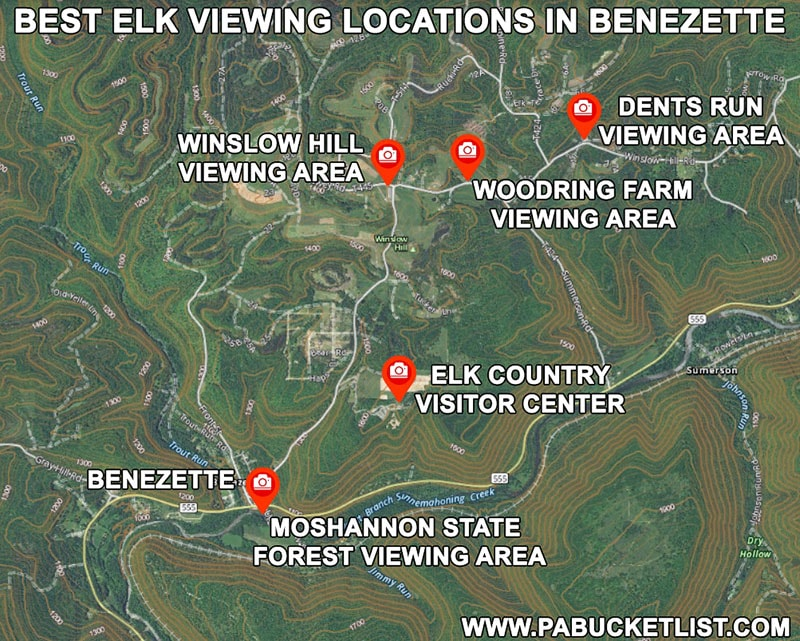 Map to the 5 best elk viewing areas in Benezette.