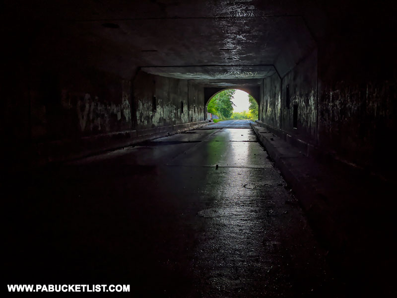 Inside the Rays Hill Tunnel on the Abandoned Pennsylvania Turnpike.