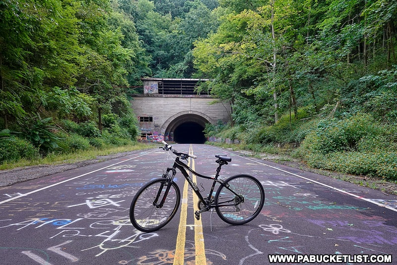 Abandoned Pennsylvania Turnpike Rail Trail at Rays Hill Tunnel.