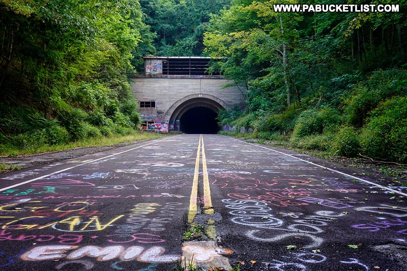 The Abandoned PA Turnpike rail trail in Bedford County.