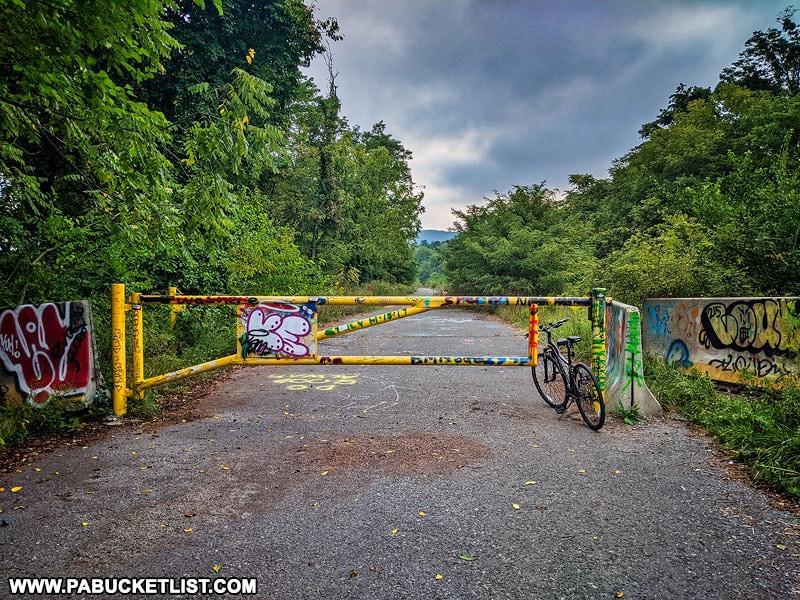 Gate to the Abandoned PA Turnpike trail near Breezewood.