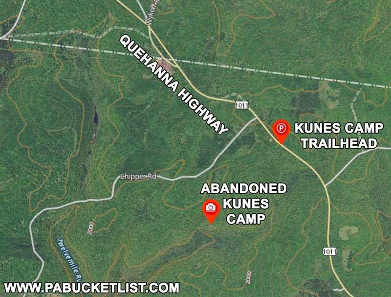 Map to abandoned Kunes Camp in the Quehanna Wild Area.