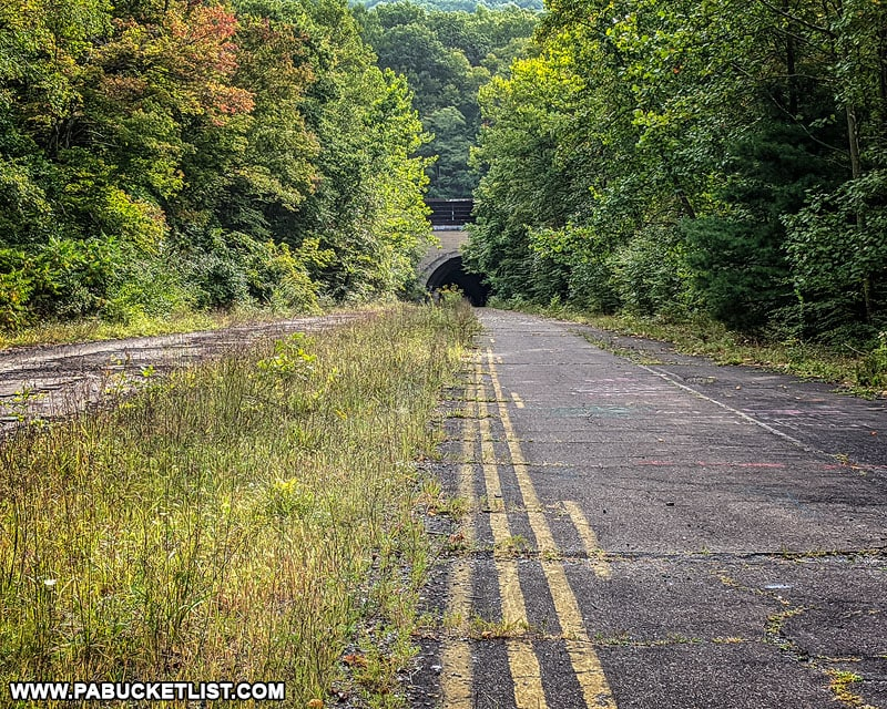 Approaching the western portal of the Sideling Hill Tunnel on the Abandoned PA Turnpike in September 2020.